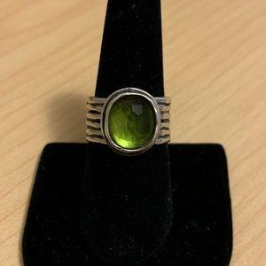 Silpada green & silver ring - size 8